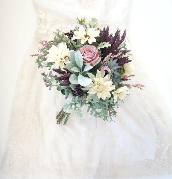 Silk Bridal Bouquet Blush Wedding Boho by MoonflowerNatureArt