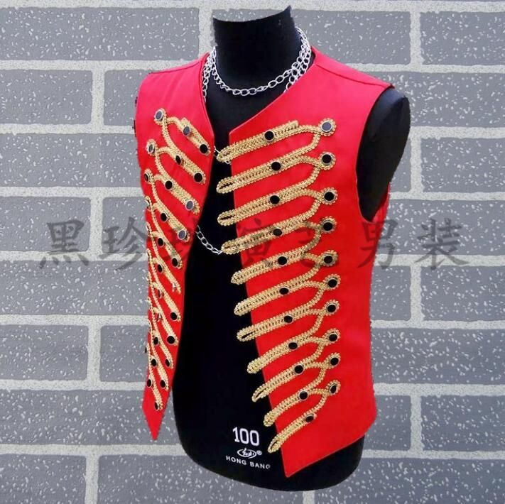 Personality rock slim male sleeveless red vest men punk costumes hombre singer dance stage fashion multi-row buckle clothes new