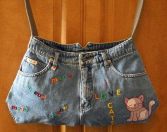 Denim and Lace Blue Jean Purse by KMSORIGINAL on Etsy