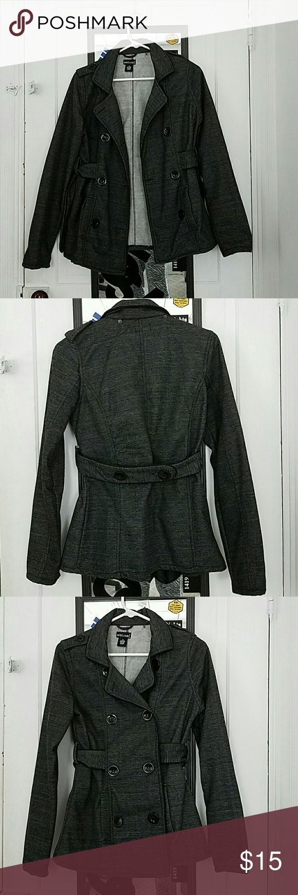 Wet Seal light fall peacoat dark grey peacoat  with detachable hood (not pictured), black buttons, collar. Light, soft and comfortable. Worn twice. Wet Seal Jackets & Coats Pea Coats