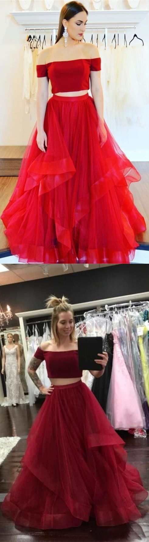 Simple red tulle long prom dresses,off the shoulder graduation party gowns,modest senior prom dresses for teens – Haute n Sleek Couture