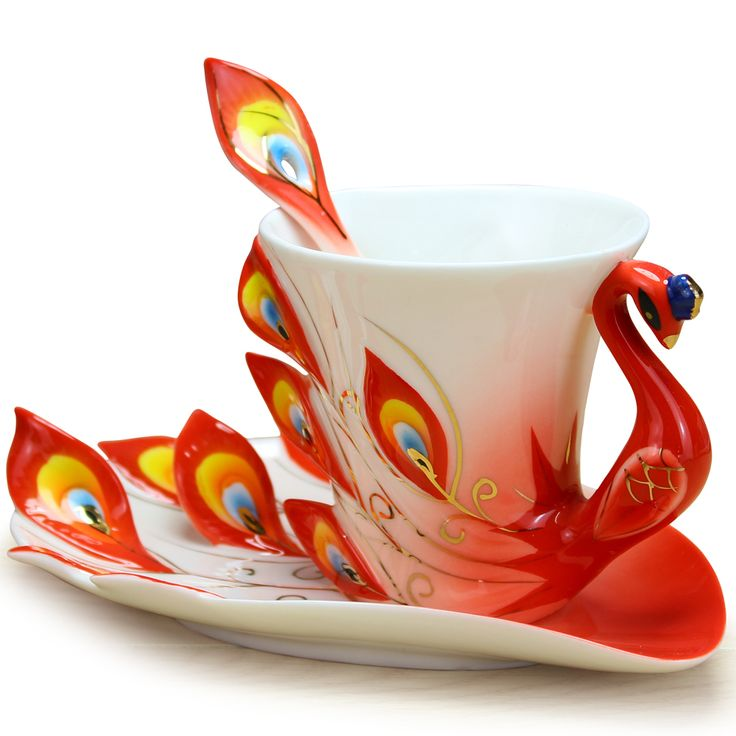 Chinese Ceramic Enamel Porcelain Peacock Coffee Mug Lover Cup Saucer Christmas Wedding Valentine's Day Ideas Gift LY 030-in Mugs from Home &...