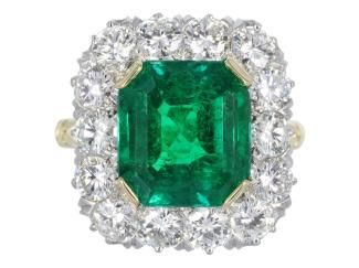 5.02ct Colombian Emerald & Diamond Cluster Ring