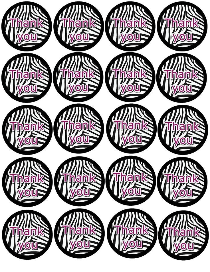 "Free zebra print ""Thank you"" favor bag printable."