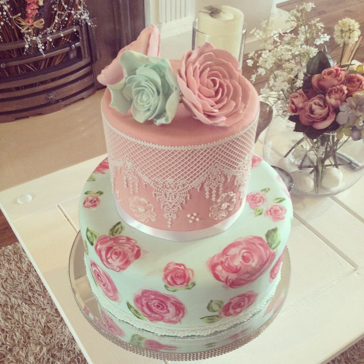Two tier vintage cake