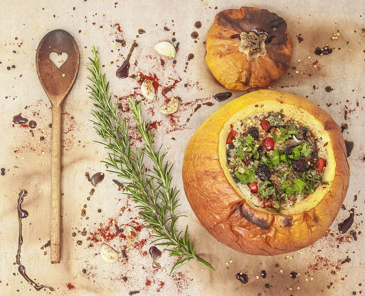 Millet Stuffed Pumpkin and our Croatian Pumpkin Seed oil  Stuffing: 2 cups / 300 g millet or white quinoa 2 large onions, finely chopped 2 cloves of garlic 1 red pepper 250 g brown mushrooms chopped 3 tbsp white wine or water 1 tsp dried thyme sea salt and pepper 1 cup / 100 g cranberries (fresh, frozen or dried) 1 handful raw almonds, coarsely chopped (use pumpkin seeds for a nut-free alternative) 2 stems flat-leaf parsley, finely chopped, save a little for serving 150 g feta cheese…