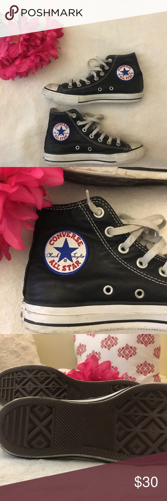Black leather converse Black leather converse. Worn in a little but still in good condition. Converse Shoes Sneakers
