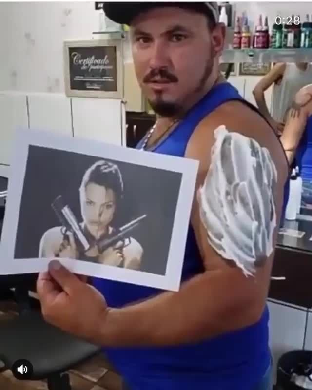 Crappy and funny Lara Croft shoulder tattoo reveal video. 😂 Click on the link…
