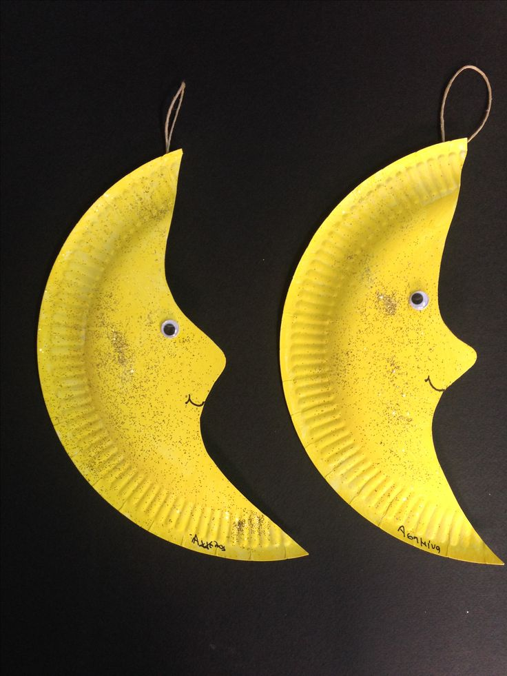 yellow/moons/paper plates craft