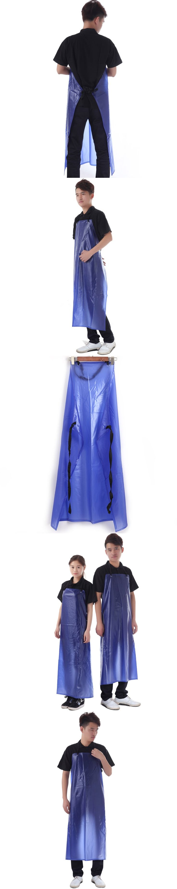 Kitchen Waterproof Aprons Thickened Pvc Apron Hotel Food Blue