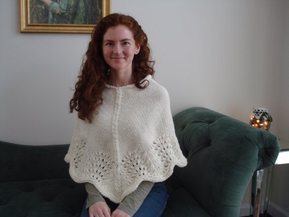 Hand Knitted Poncho Ladies Poncho Sweater Shawl Wrap by CatDKnits