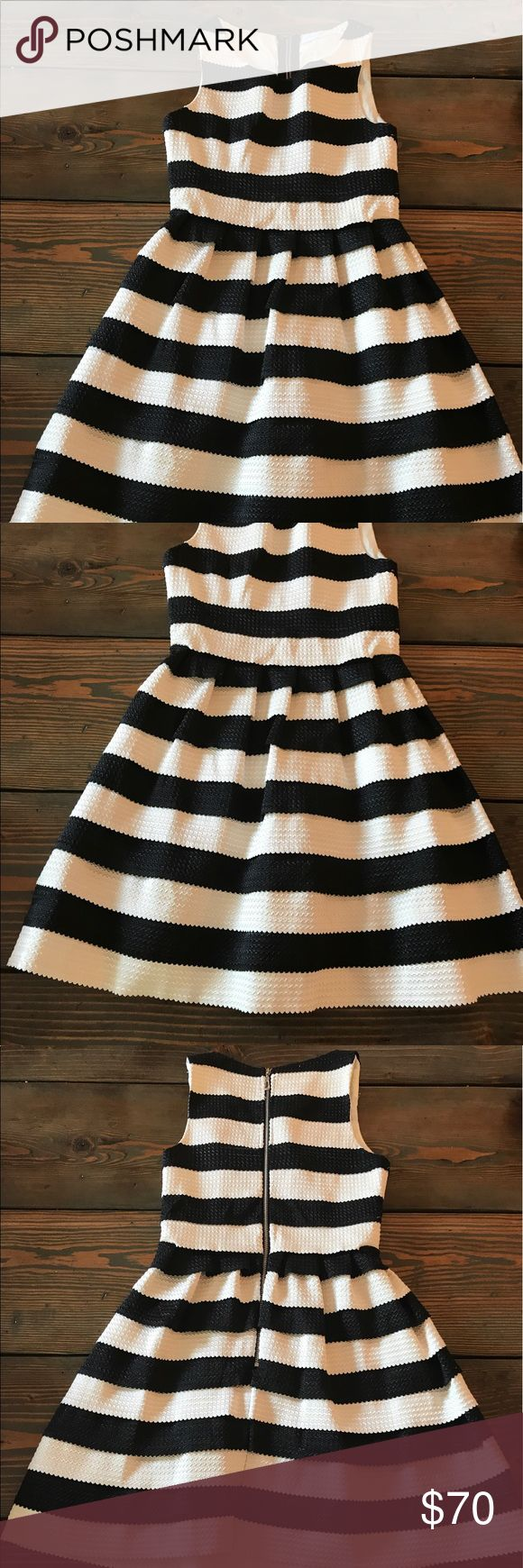 Jun&Ivy classic black and white dress So chic and classy! Fit and flare black and white stripe cocktail dress with exposed zipper in back. Worn once to an event. Mint condition Dresses