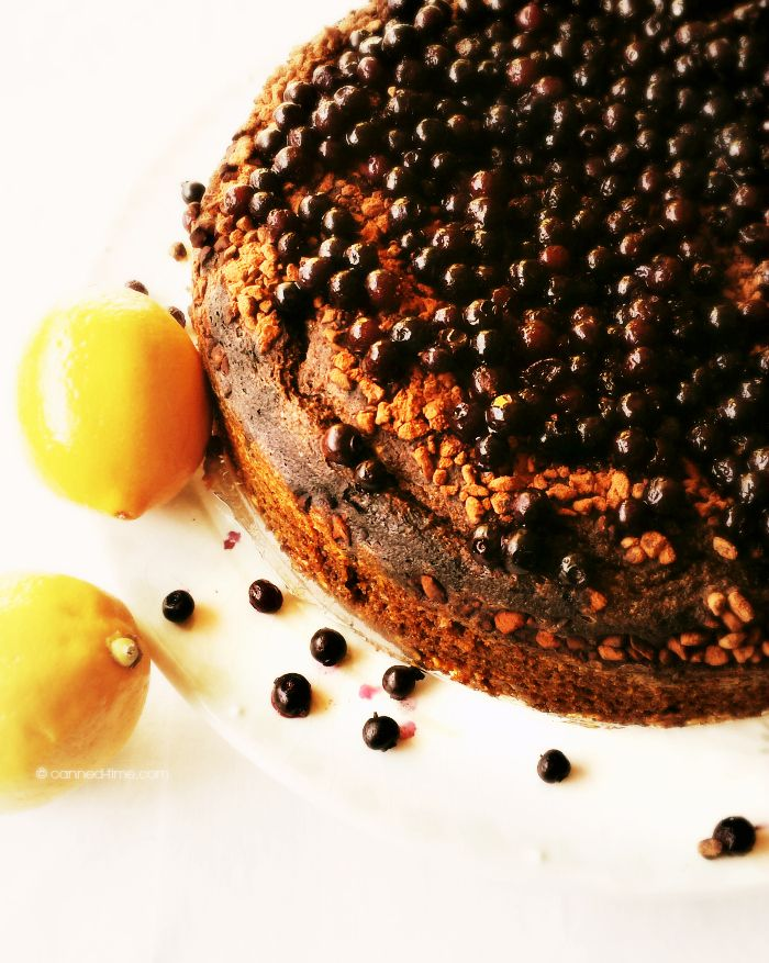 Lemon Sour Cream Cake with Cacao Nibs & Wild Blueberries