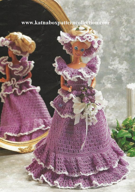 "Crochet Fashion Doll Clothing ""Bridesmaid"" Gown Pattern #KC1423, Advanced Skill Level, Crochet PDF Pattern"