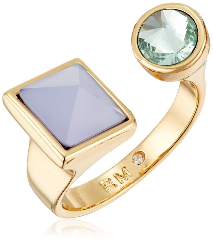 Rebecca Minkoff Stone U Ring, Size 7. Made in China. Rhodium plated ring with blue and green stones. Store in protective pouch, do not wear in water. Designed in New York, Made in China. Imported.
