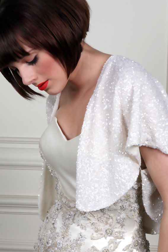 november wedding may require a sparkly shrug like this