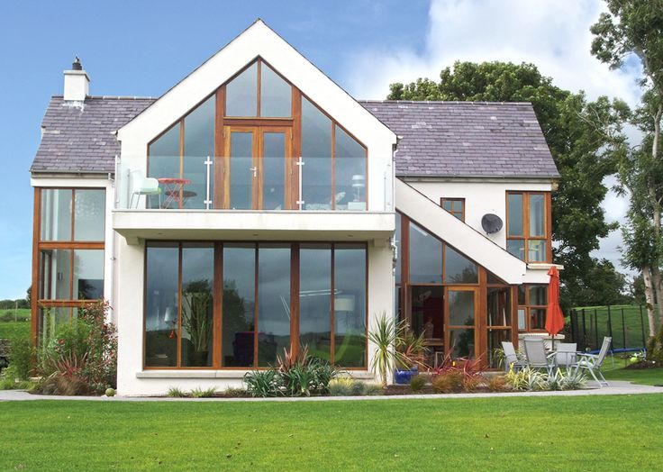 Glazed Gable Apex with Cantilevered Balcony   Keystone Lintels   See more: http://keystonelintels.com/signature-projects/glazed-gable-apex-with-cantilevered-balcony/ #architecture #house