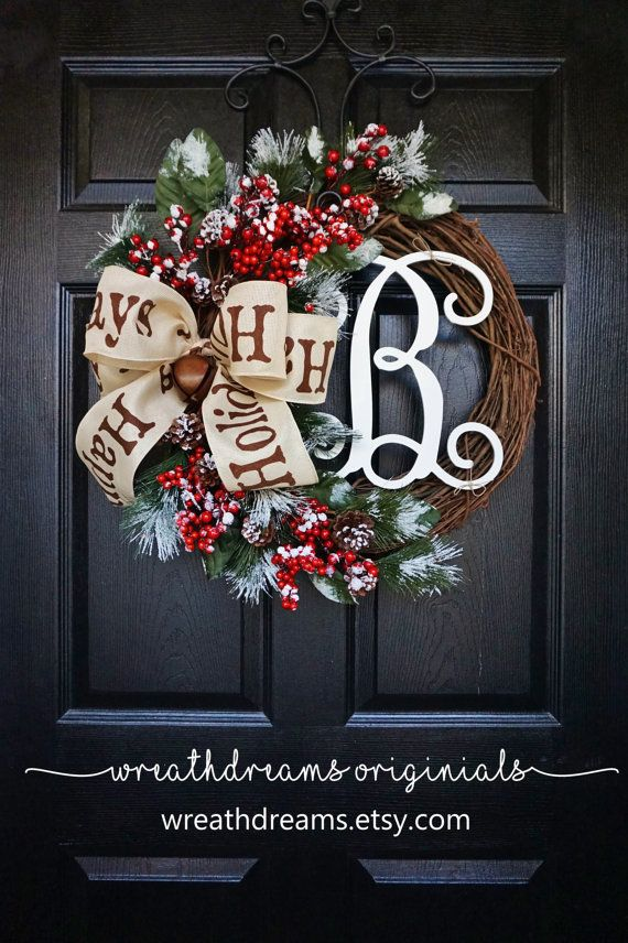 Christmas Grapevine Wreath with Burlap. Christmas by WreathDreams