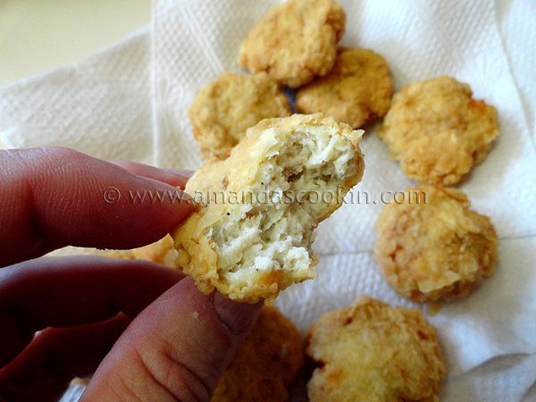 Homemade Chicken Nuggets - Amanda's Cookin' add 2 teaspoons of hot sauce for spicy, swap flour for panko if baking