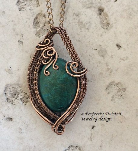 Chrysocolla Wire Wrap Pendant Necklace, Handmade Copper Wire Jewelry, Communication Stone, Antiqued Wire Weave Jewelry