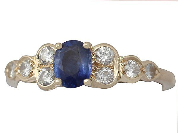 'Vintage Sapphire & Diamond Ring in 18ct Yellow Gold' http://www.acsilver.co.uk/shop/pc/0-87-ct-Sapphire-and-0-65-ct-Diamond-18-ct-Yellow-Gold-Dress-Ring-Vintage-Circa-1980-167p7728.htm