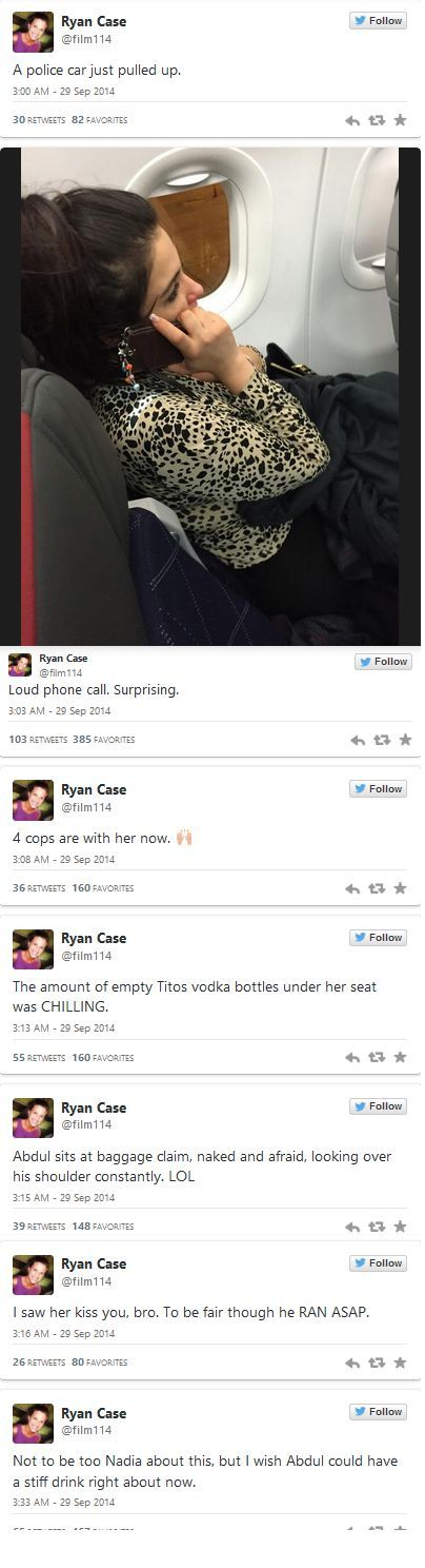 Ryan Case live tweets obnoxious drunk lady on plane and it's HILARIOUS