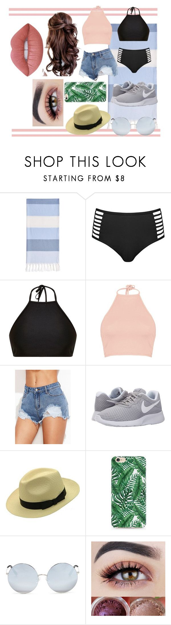 """""""swimwear"""" by keeleyndcorban on Polyvore featuring Linum Home Textiles, Venus, Mix & Match, Boohoo, NIKE, Caso, Matthew Williamson and Lime Crime"""