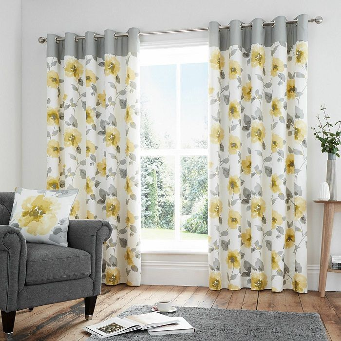 Adrianna Ochre Patterned Eyelet Curtains Lined Ready Made Eyelet Curtains Curtains Lined Curtains