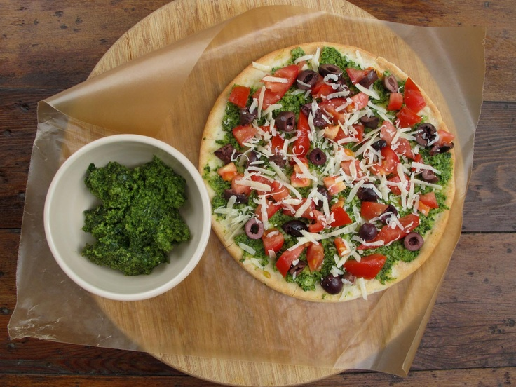 Use any crust you'd like to make this healthy and tasty Gluten-Free Pesto Pizza from @GFMelissa at Gluten Free For Good. #glutenfree #dairyfree