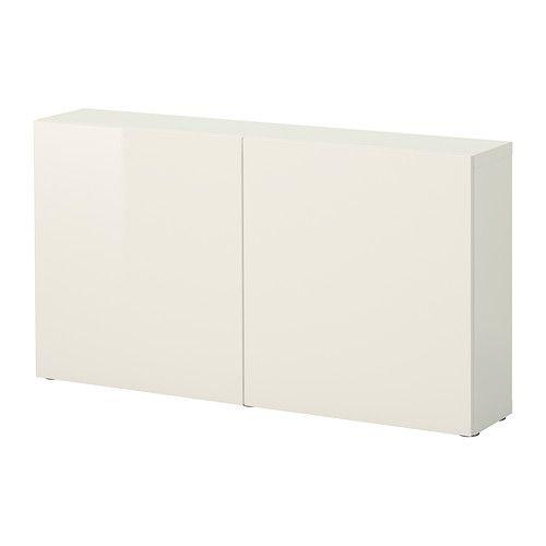 IKEA - BESTÅ, Estante c/portas, branco/Tofta branco/brilh,
