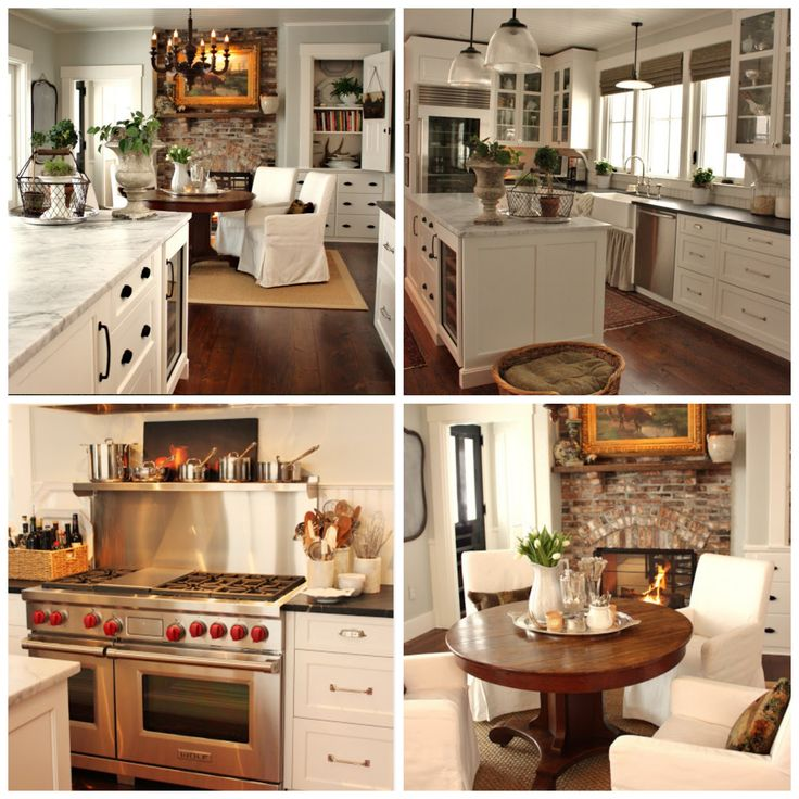 Loving This Farmhouse Kitchen. Particularly The Brick Fireplace.