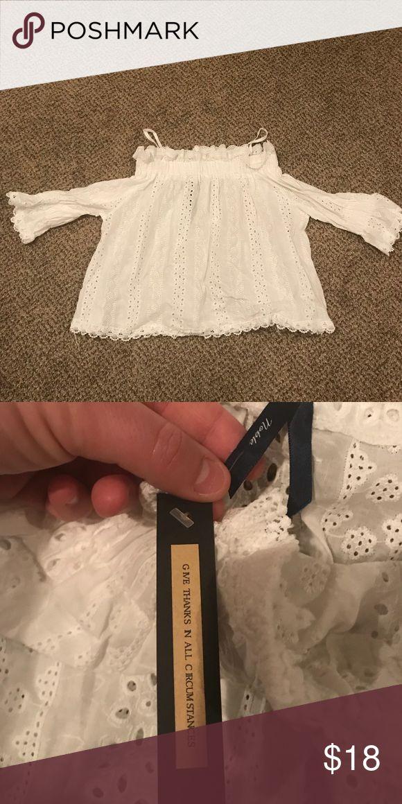 Apricot Lane Boutique White Shirt! Apricot Lane Boutique white off the should Shirt with spaghetti straps!  Size Medium, but runs a little big!  NEW WITH TAG!!! Apricot Lane Boutique Other