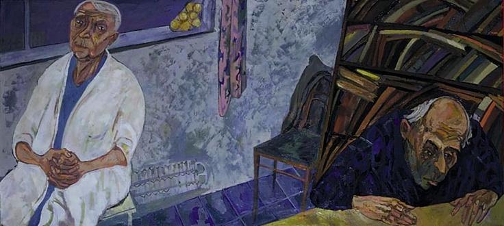 Maxim Kantor - Parent's House (1998) Oil on canvas 140X260cm