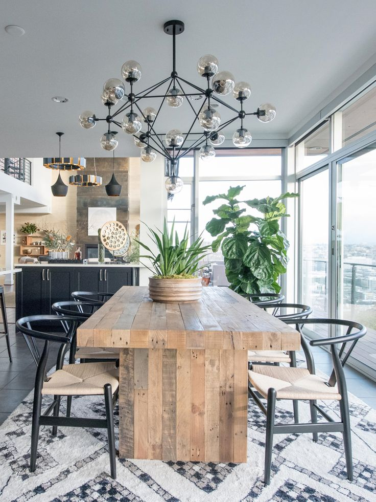 DECORIST SEATTLE SHOWHOUSE THE POWER OF VIRTUAL DESIGN Reclaimed Wood Table And Wishbone Chairs Dining