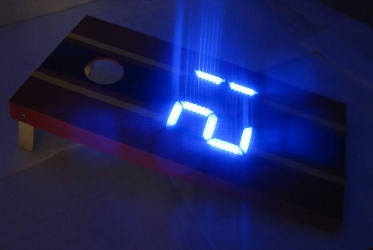 Electronic scoring cornhole board with BLUE lights. LOVE ...