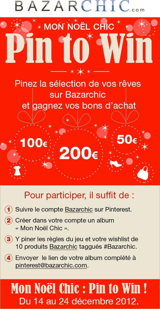 CONCOURS du 14 au 24 décembre 2012.  Faîtes nous découvrir votre #wishlist de Noël #Bazarchic et tentez votre chance au tirage au sort!    Règlement du jeu consultable ici:   http://fr.bazarchic.com/vente-privee/reglement-jeu-pinterest/