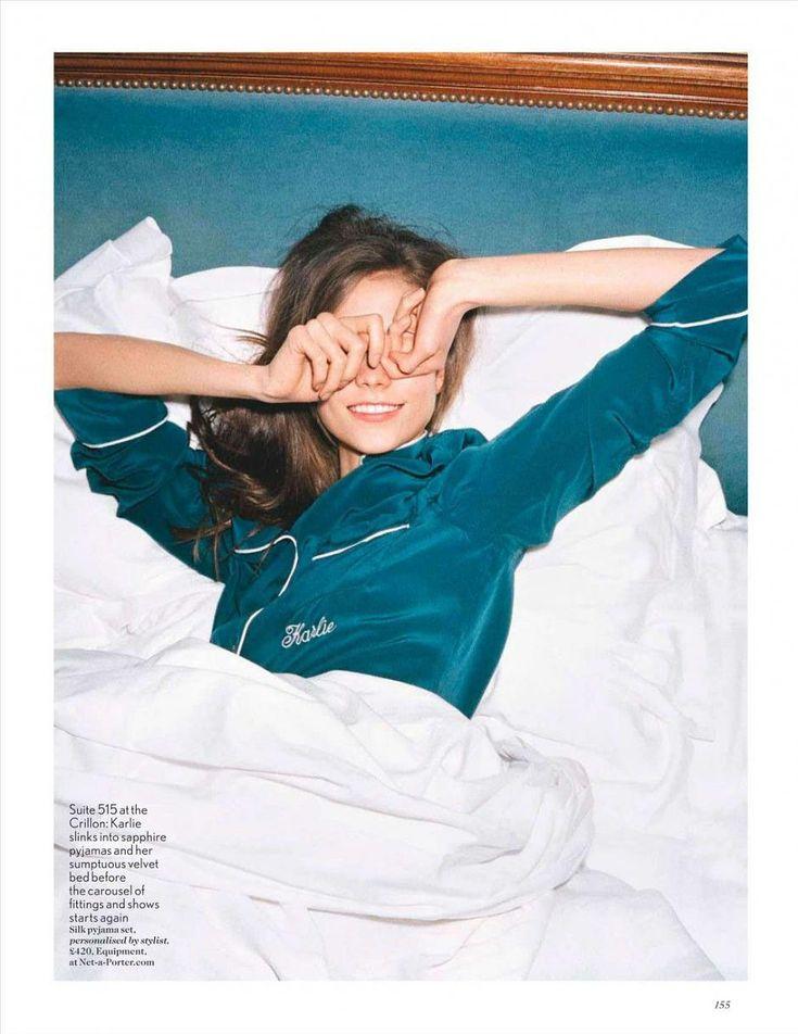 Karlie's personalized pajamas. #VogueUK: Pajamas, Sleep Beautiful, Sunday Mornings, Karliekloss, Karlie Kloss, Style, Vogue Uk, Pjs, Carboxylic Block