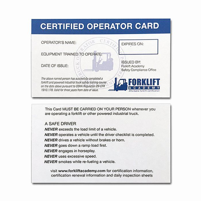 Equipment Operator Certification Card Template Beautiful Forklift Training Cards Forklift Training Certificate Templates Forklift