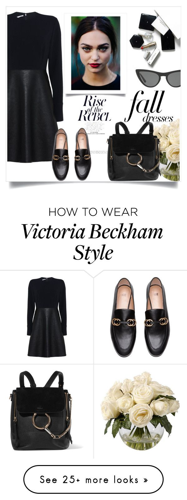 """""""black dress rebel"""" by theworldisatourfeet on Polyvore featuring Frontgate, STELLA McCARTNEY, H&M, Victoria, Victoria Beckham, Chloé, polyvoreeditorial and falldresses"""