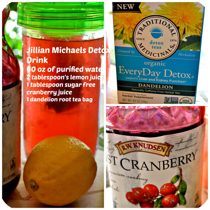 Jillian Michaels Detox Drink will help you lose the bloat Ingredients - distilled water, cranberry juice, organic dandelion root tea and lemon juice.