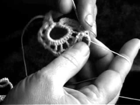 Irish crochet lace, flower over cord { you tube tutorial }