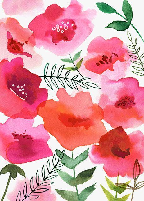 ☮ American Hippie Art ~ Pattern Design Wallpaper .. Vintage Watercolor Poppies