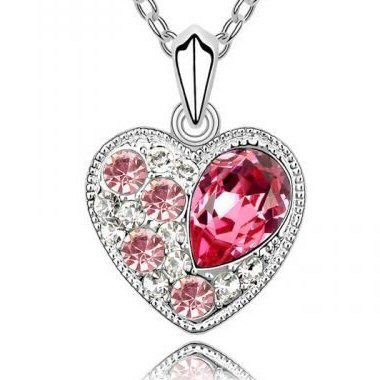 Ellysa's White Gold Plated Pink Swarovski Austrian Crystal Princess Heart Charm Pendant