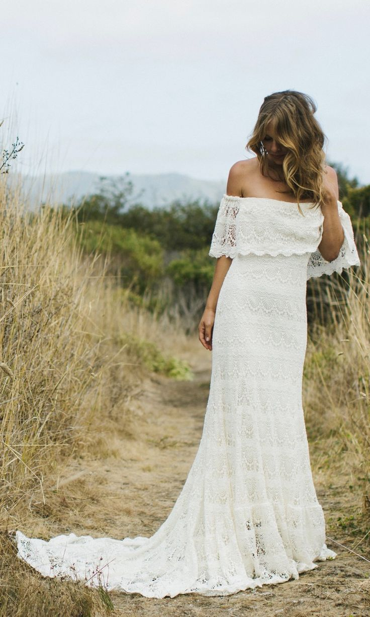 Off the shoulder beach wedding dresses   best wedding dresses images on Pinterest  Boho wedding Bridal