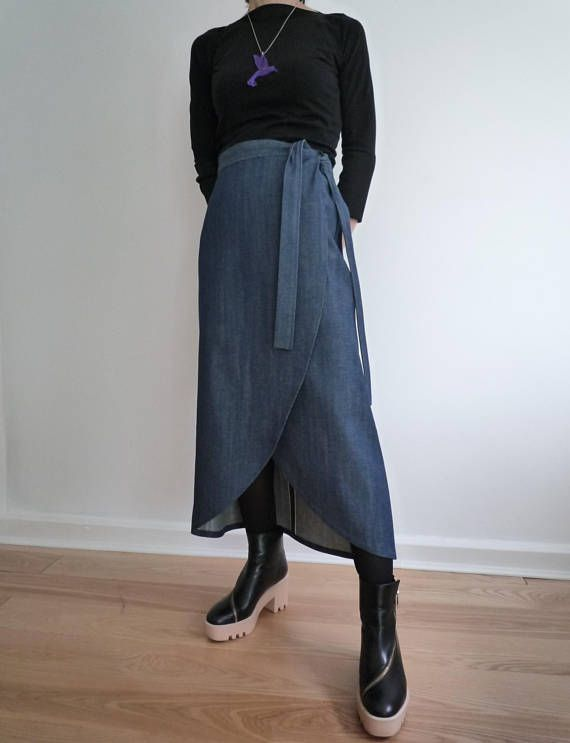 Denim wrap sarong skirt, FREE UK SHIPPING on this item   Brand new and ideal for transitional wear between the seasons is this chic wrap skirt in Japanese Selvedge denim. The wrap styling gives versatility and adjustability on the waist line. The length is graduated so it is longer at the