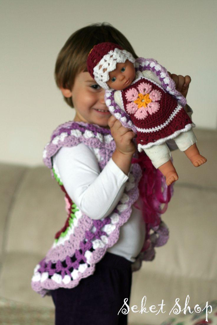 crochet set for little girl and baby doll