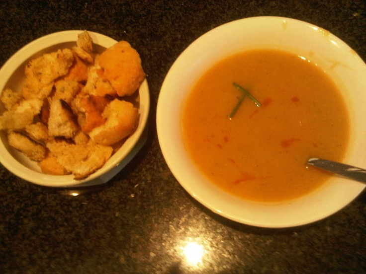 Butternut soup with homemade croutons - BEST winter meal ever.