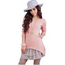 Doukia Schnüren Sie sich netten langen ärmeln Rundhals zweiteilige Set Pullover Kleid Strickkleid XS-Pink