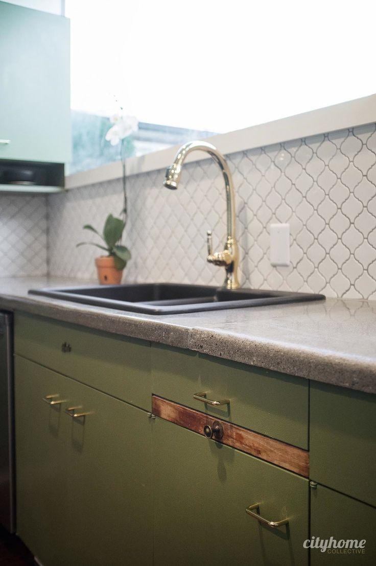 318 best mid century modern images on pinterest medieval mid mid century modern kitchen green cabinets concrete counters white tile backsplash original shiifo