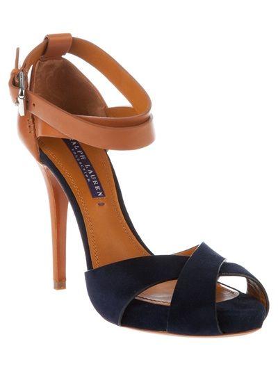 Navy and Cognac Ralph Lauren Cross Strap Buckled Stiletto Heel